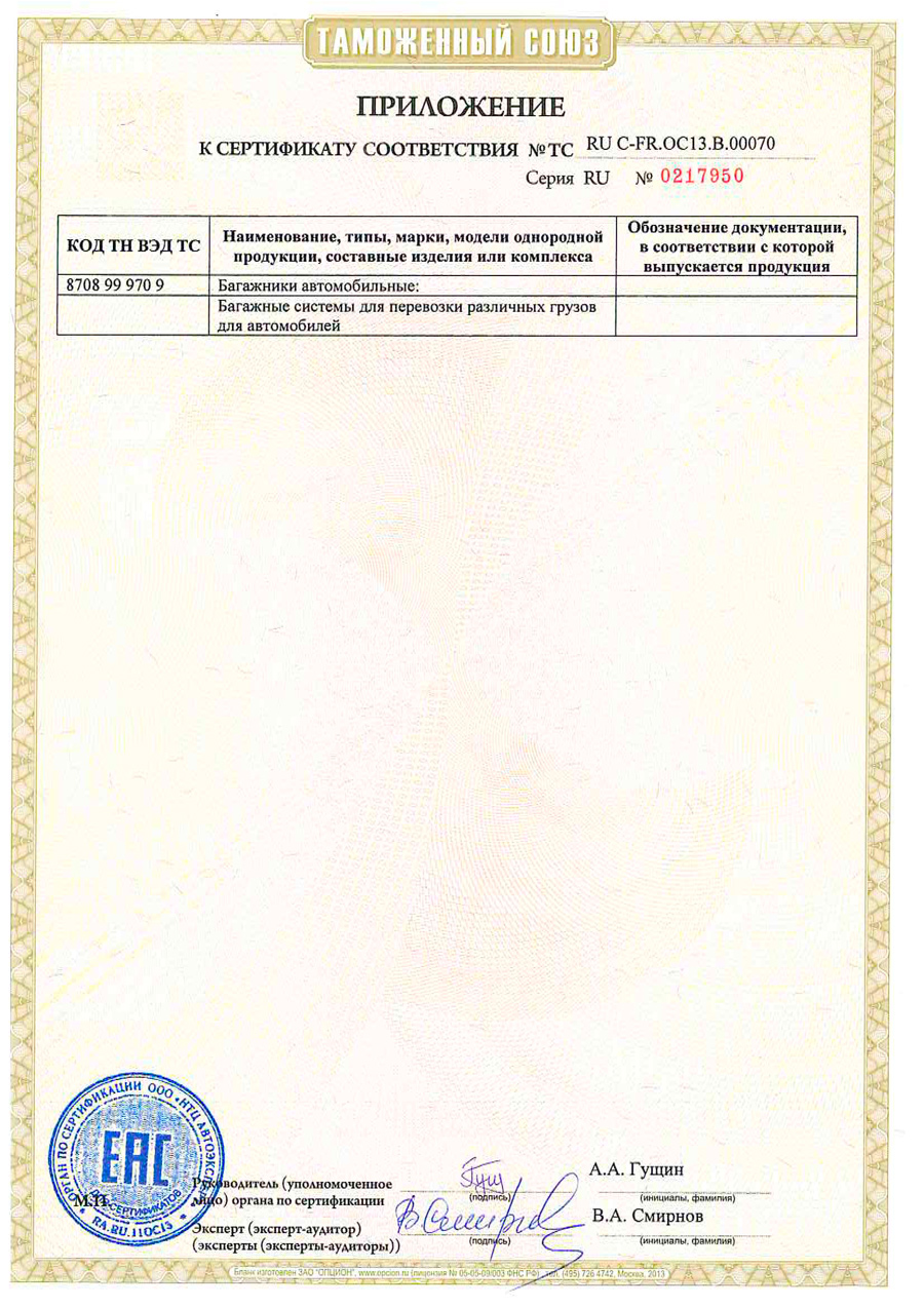 Сертификат на багажники Montblanc страница 2