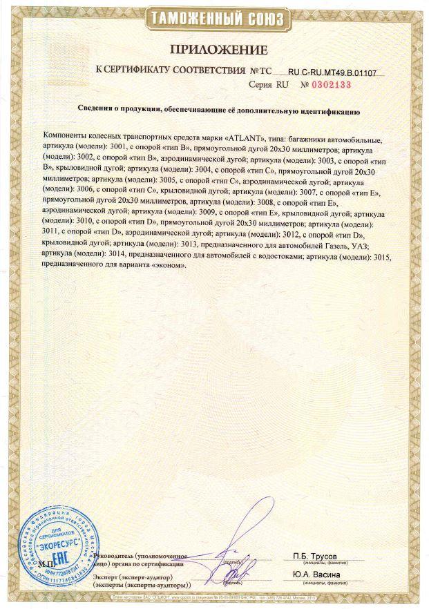 Сертификат на багажники Атлант страница 2