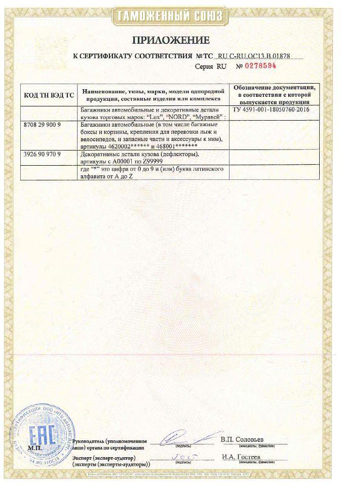 Сертификат на багажники LUX / Nord / Муравей страница 2