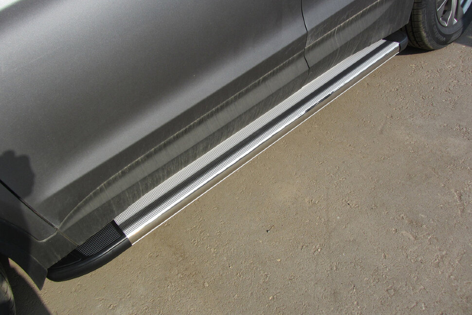 Пороги алюминиевые (BRILLANT) Mercedes ML (2011+