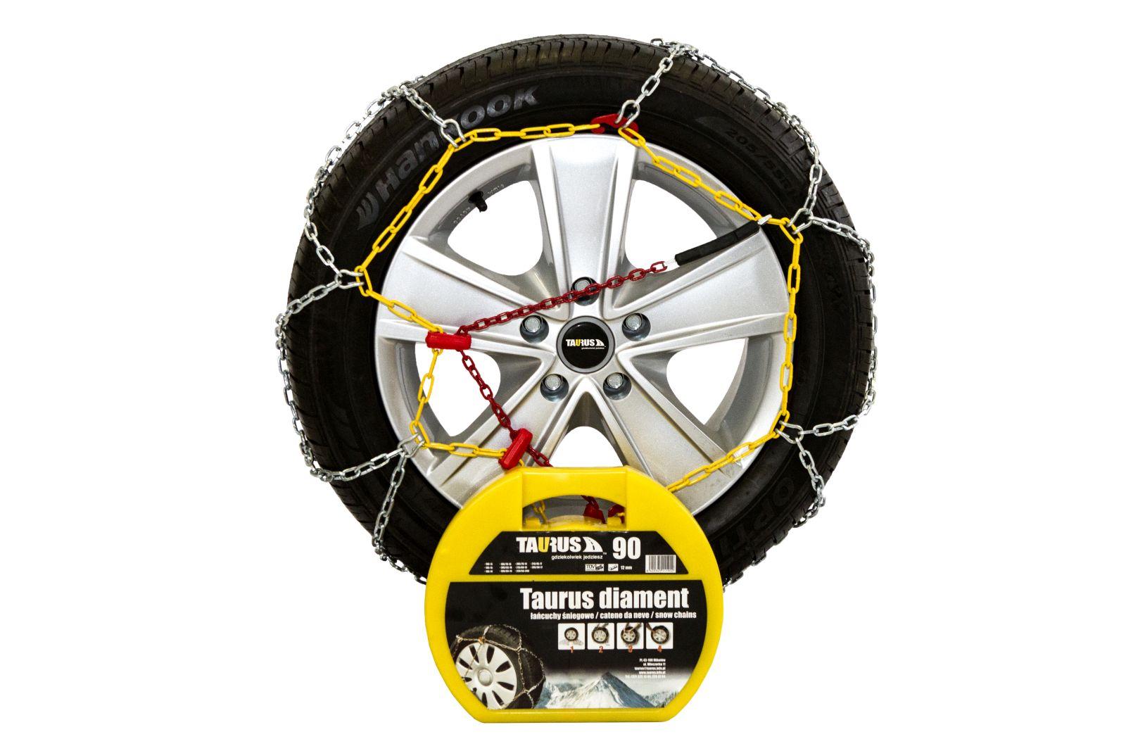 Комплект цепей противоскольжения Taurus Diament (12 мм) 90 ( звено ДСЗ 3,55мм ) с защитой литых дисков, Цепи на колёса Taurus Diament TDIA1290