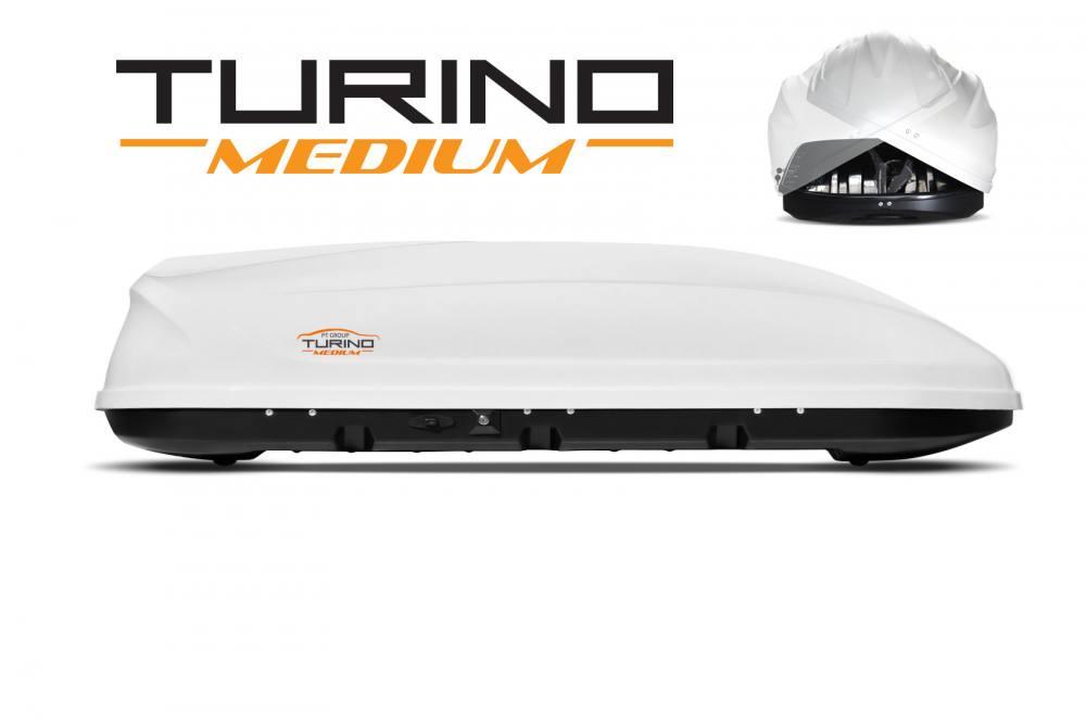 Автобокс на крышу Белый Turino Medium (460 л) Аэродинамический с двусторонним открыванием (Арт.2531)