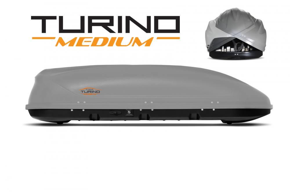 Автобокс на крышу Серый Turino Medium (460 л) Аэродинамический с двусторонним открыванием (Арт.2532)