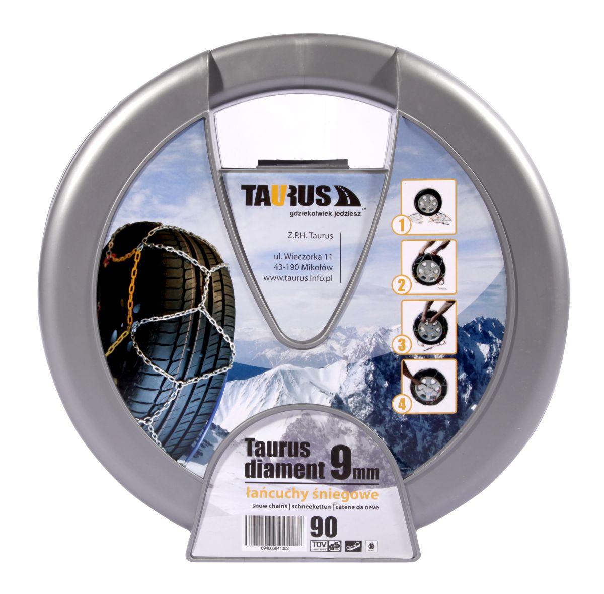 Цепь противоскольжения Taurus Diament (9 мм) 90 ( звено ДСЗ 3,55мм ) с защитой литых дисков ( Таурус Диамант ) ( TDIA990 )