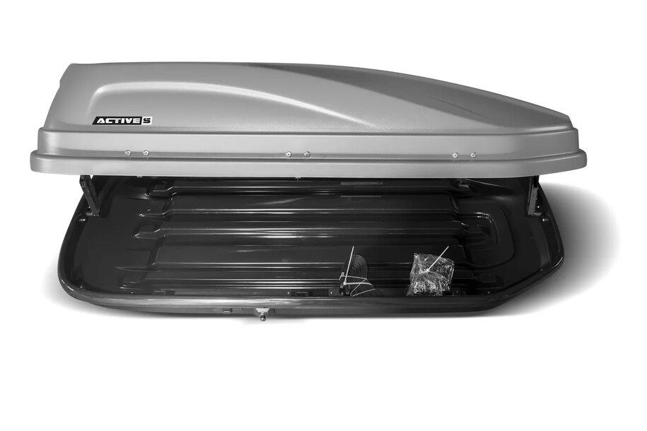 Автомобильный бокс на крышу PT Group ACTIVE ( S ) ( DUO )  - серый матовый - 380 л 150х75х38 см Вес 12 кг ( арт.2529 )