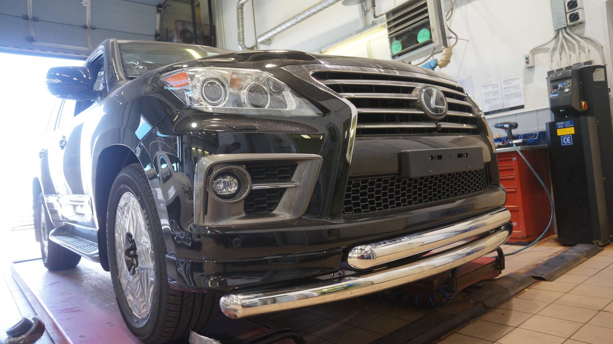 Защита переднего бампера Lexus LX570  (2012-2015) (двойная) d 76/60