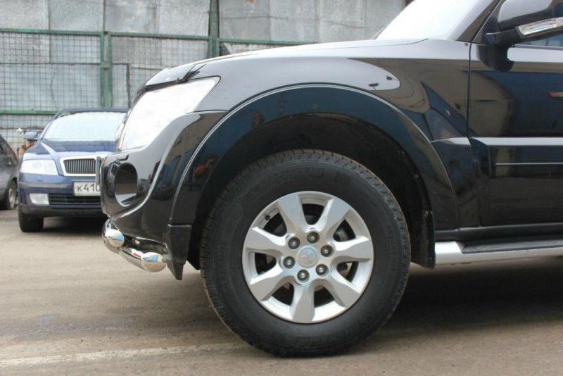 Защита переднего бампера Mitsubishi Pajero IV (2011-2014/2014-) (двойная) d 76/60