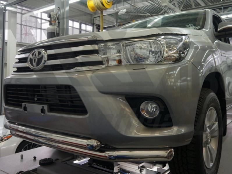 Защита переднего бампера Toyota Hilux (2015-) /  (двойная) d76/60