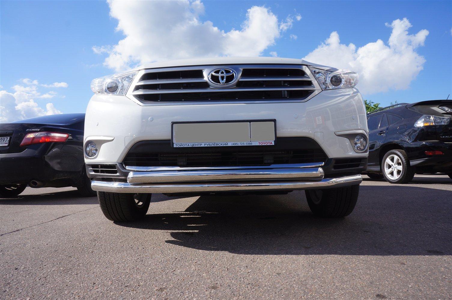Защита переднего бампера  Toyota Fortuner (2017-) (двойная) d76/60