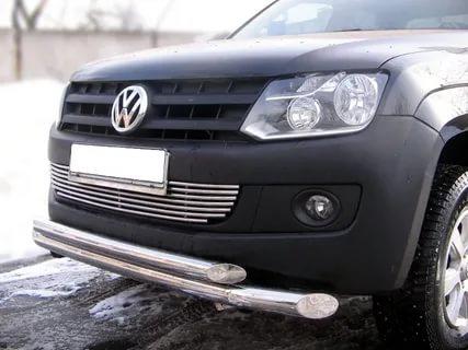 Защита переднего бампера Volkswagen Amarok (2010-) (двойная) d76/60*
