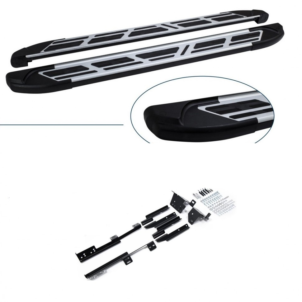 Пороги Can Otomotiv алюминиевые (Corund Silver) для Porsche Cayenne 2004-2017