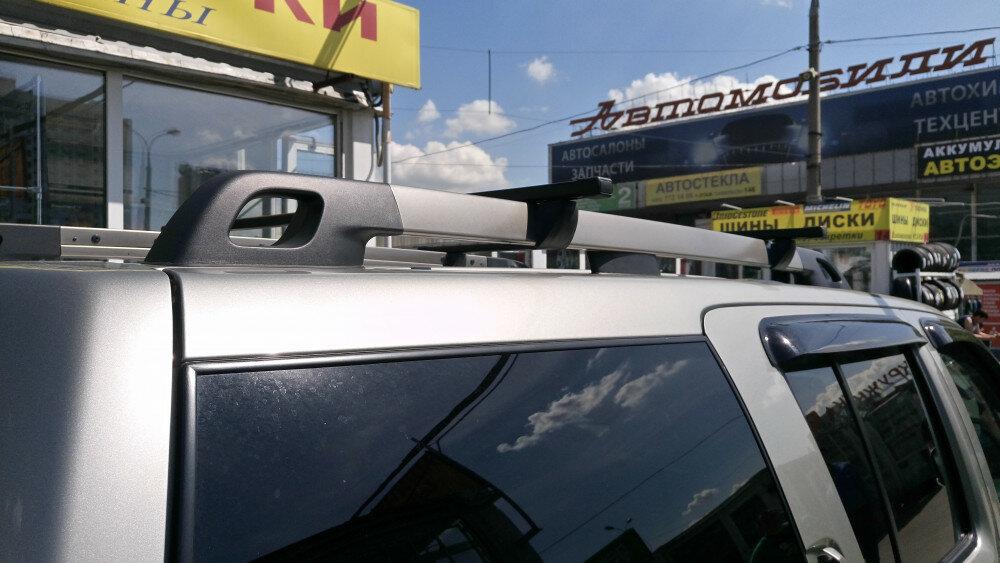 Багажная система Inter для Renault Duster 2015 - ( Рено Дастер ) / KIA Mohave ( КИА МОХАВ ) / Nissan Pathfinder R51 ( Нисаан пасфаиндер р51 ) на рейлинги со стальными поперечинами